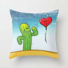 Spiky Cactus Flirting with a Heart Balloon Throw Pillow