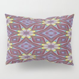 Yellow Flowers and Amethyst Diamonds Repeating Pattern Pillow Sham