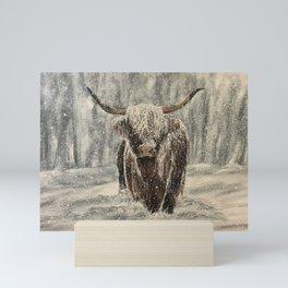 Very Snowy Highland Cow Mini Art Print