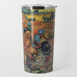 The Red Vineyards Oil Painting on Burlap by Vincent van Gogh Travel Mug