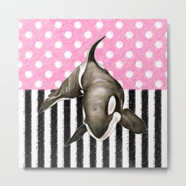 Orca Whale Pink Polka Dot Metal Print
