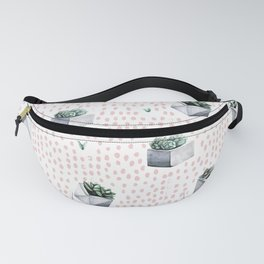 Potted Succulents Pink Polka Dots Fanny Pack