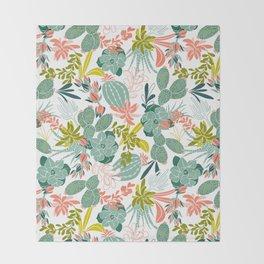 Succulent Garden White Throw Blanket