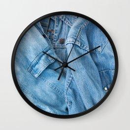 Details of denim jacket and shirt Wall Clock