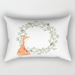 Cute Fox Looking at Acorns Rectangular Pillow