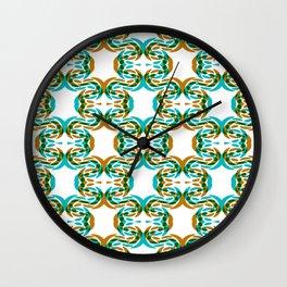 Green Aqua Gold Faux Lace Pattern On White Wall Clock