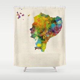 Ecuador Watercolor Map Shower Curtain