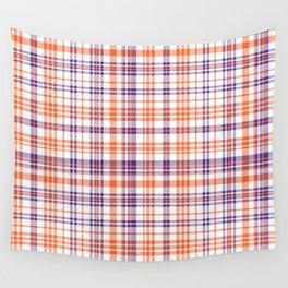 Varsity plaid purple orange and white clemson sports college football universities Wall Tapestry