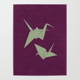 Origami paper cranes on purple waves Poster