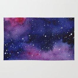 Watercolor Galaxy Nebula Pink Purple Sky Stars Rug