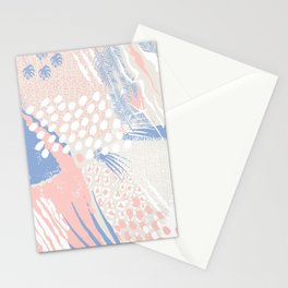 wild cats winter print (rose quartz and serenity) Stationery Cards