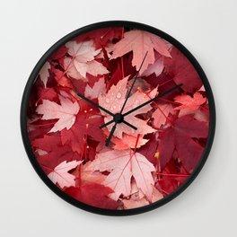 Autumn Warm Orange Leaves Wall Clock