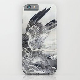 12,000pixel-500dpi - Kawanabe Kyosai - Eagle Attacking Fish - Digital Remastered Edition iPhone Case