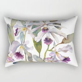 Cattleya Orchid White and Purple with Goldfish Muted Pallet Botanical Design Rectangular Pillow