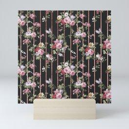 Elegant faux rose gold black stripes vintage blush pink lavender floral Mini Art Print
