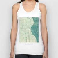 milwaukee Tank Tops featuring Milwaukee Map Blue Vintage by City Art Posters