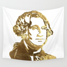 First President of The USA George Washington Gold Look Portrait Bust Wall Tapestry
