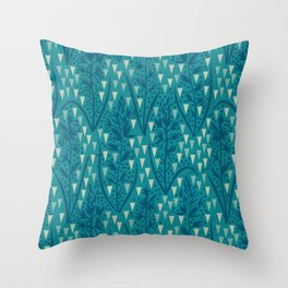 Botanical pattern with triangles and dots Throw Pillow