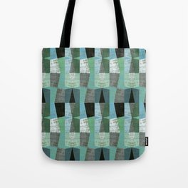 Perspective Compilation with Wood Grain and Teal Tote Bag