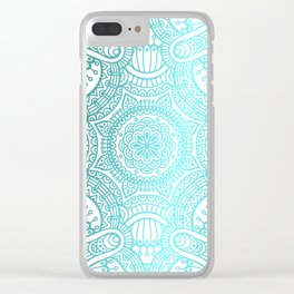 Turquoise Ethnic Pattern With Mandalas Clear iPhone Case