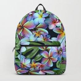 Rainbow Plumeria Dark Backpack