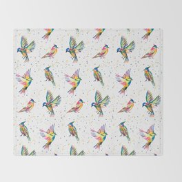 Four Colorful Birds Throw Blanket