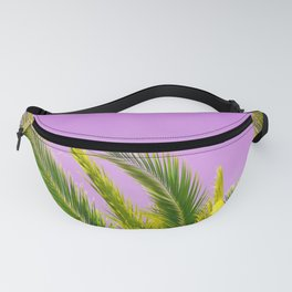 Green palm leaves on a pink background - #Society6 #Buyart Fanny Pack