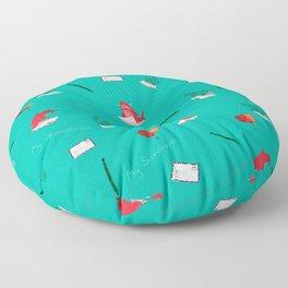 Teal Whale Shark and Shark Floor Pillow