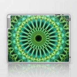 Yellow and green glowing mandala Laptop & iPad Skin