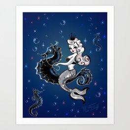 Pearla the Mermaid Riding on a Seahorse Art Print