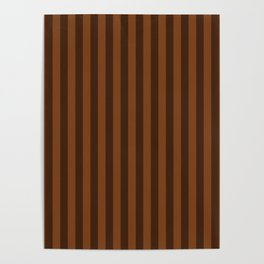 Chocolate Brown Stripes Pattern Poster
