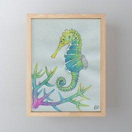Neon Seahorse Framed Mini Art Print