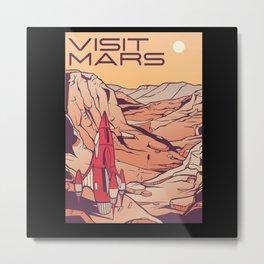 Visit Mars Retro Space Design Metal Print