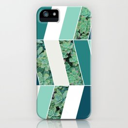 Teal Herringbone #society6 #teal #succulent iPhone Case