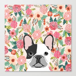 French Bulldog  floral dog head cute frenchies must have pure breed dog gifts Canvas Print