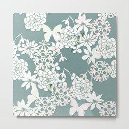 Papercut snowdrops Metal Print