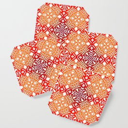 Tribal Tiles II (Red, Orange, Brown) Geometric Coaster