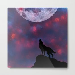 Wolf's Night Sky Metal Print