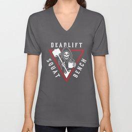 Squat Bench Deadlift Grim Reaper Unisex V-Neck