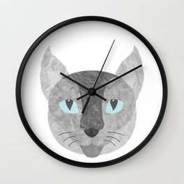 Gray Paper Cat Wall Clock