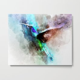 With brave wings she flies inspirational quote watercolor hummingbird motivational saying bird print Metal Print