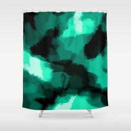 Emmy - Emerald green abstract art Shower Curtain