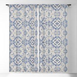 Vintage blue tiles pattern Blackout Curtain