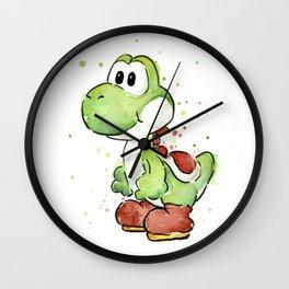 Yoshi Watercolor Mario Wall Clock