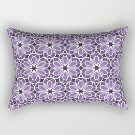 Symmetric Flower Pattern in Purple Rectangular Pillow