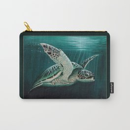 """""""Moonlit"""" by Amber Marine - Sea Turtle, Acrylic Painting, (Copyright 2015) Carry-All Pouch"""