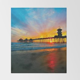 Sunset Huntington Beach Pier   Throw Blanket