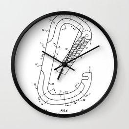 Rock Climbing Patent - Climber Art - Black And White Wall Clock