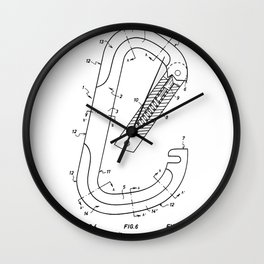 Rock Climbing Patent - Climber Art - Black And White Wall Clock
