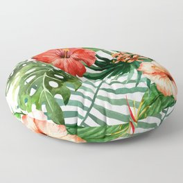 Hibiscus and Palm Leaf Pattern Floor Pillow